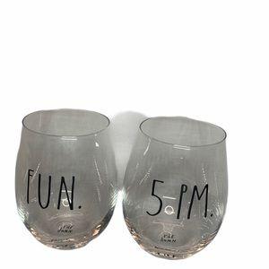 Rae Dunn Steamless Fun & 5 PM Wine Glasses 2 Pc
